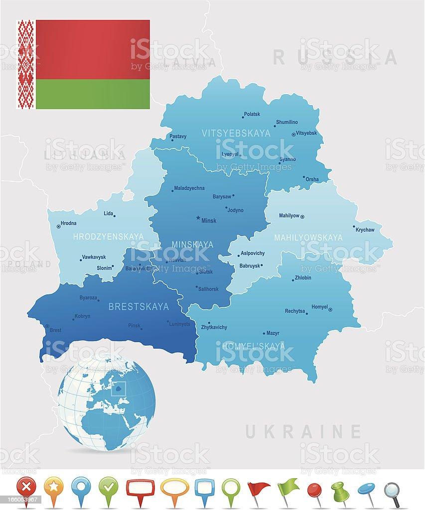 Map of Belarus - states, cities, flag and icons vector art illustration