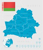Map of Belarus - states, cities, flag, navigation icons