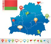 Map of Belarus with navigation icons