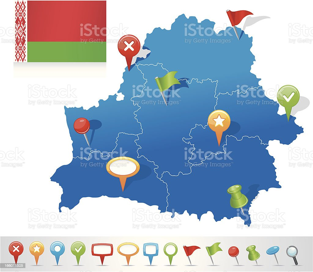 Map of Belarus with navigation icons vector art illustration