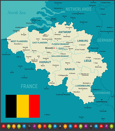 Map of Belgium. Political Map with Regions, Geographical Borders of France, Luxembourg, Germany and Netherlands