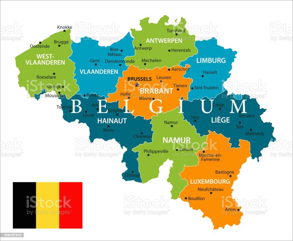 Mapa De Localização De Pontos De Vetor Localização De: Vetor De Mapa Da Bélgica Vetor E Mais Banco De Imagens De