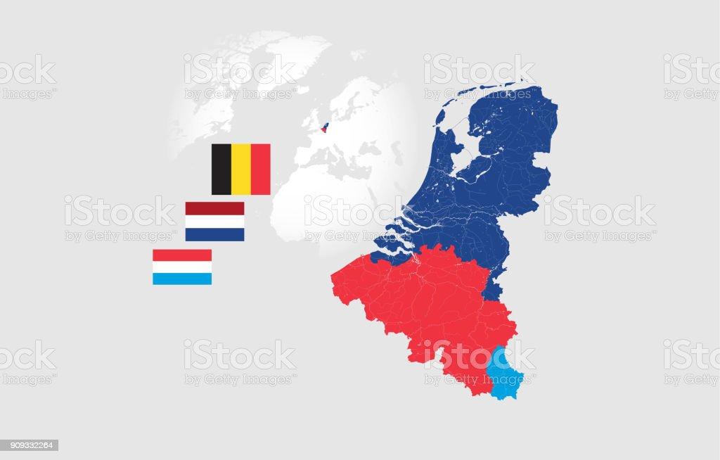 Kaart van de landen van de BeNeLux met rivieren en meren en de nationale vlag van deze landen.vectorkunst illustratie
