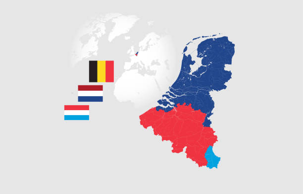 Map of BeNeLux countries with rivers and lakes and the national flags of this countries. Map of BeNeLux countries with rivers and lakes and national flags. Map consists of separate maps of Belgium, Netherlands and Luxembourg that can be used separately. Please look at my other images of cartographic series - they are all very detailed and carefully drawn by hand WITH RIVERS AND LAKES. benelux stock illustrations