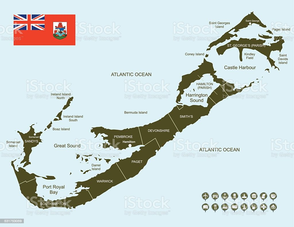 Map of Bermuda vector art illustration