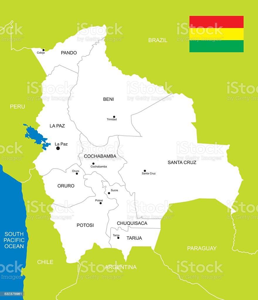 Mapa de Bolivia - ilustración de arte vectorial