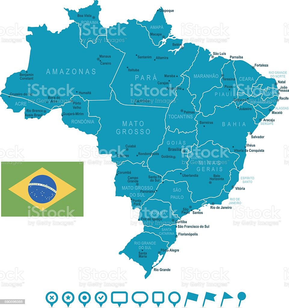 Map of brazil and navigation icons stock vector art more images of map of brazil and navigation icons royalty free map of brazil and navigation icons stock gumiabroncs Image collections