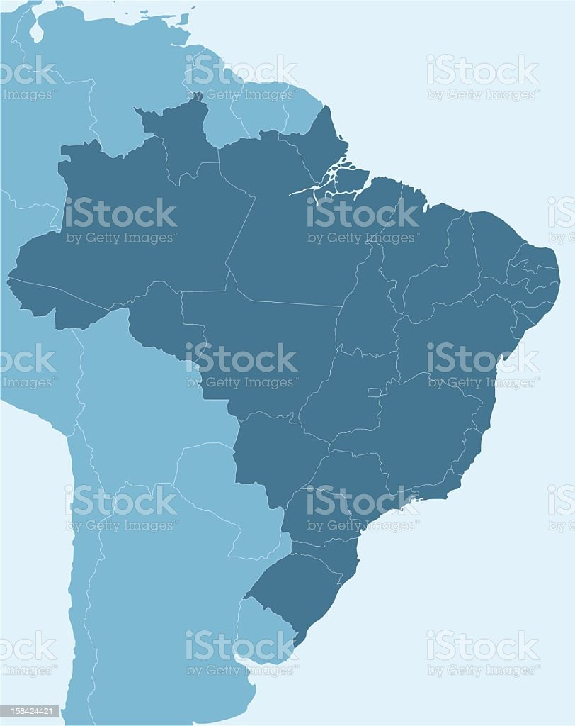 Map of Brazil and portion of South America vector art illustration