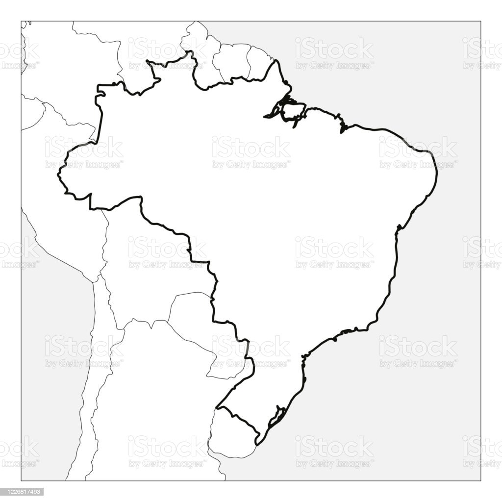 Image of: Map Of Brazil Black Thick Outline Highlighted With Neighbor Countries Stock Illustration Download Image Now Istock