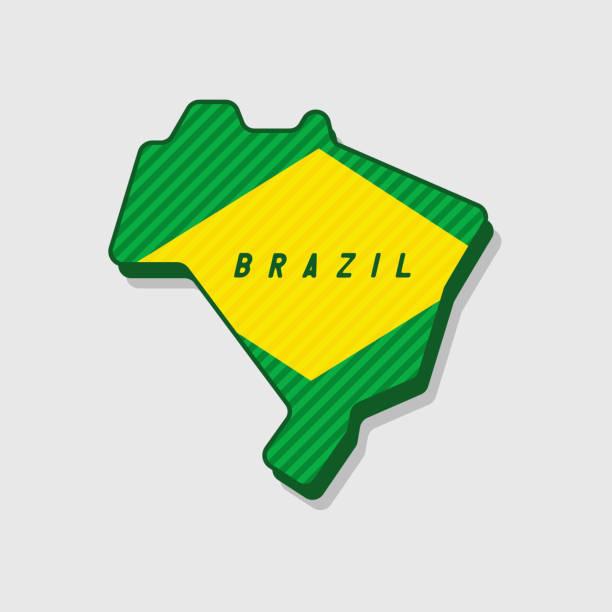 ilustrações, clipart, desenhos animados e ícones de mapa do brasil moderno estilo 3d. - brazil