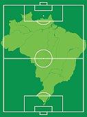 Map of Brazil on soccer field