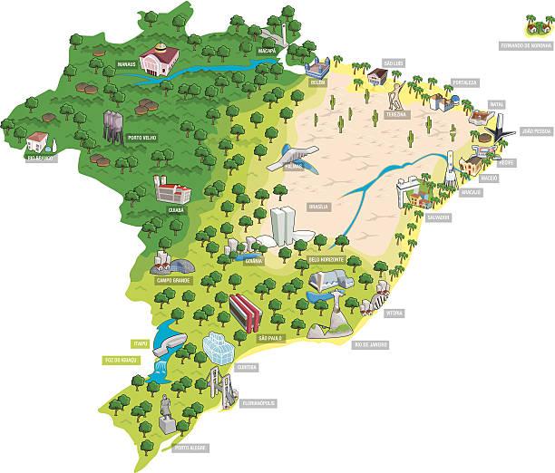 ilustrações, clipart, desenhos animados e ícones de mapa do brasil, mostrando todas as capitais - brazil map