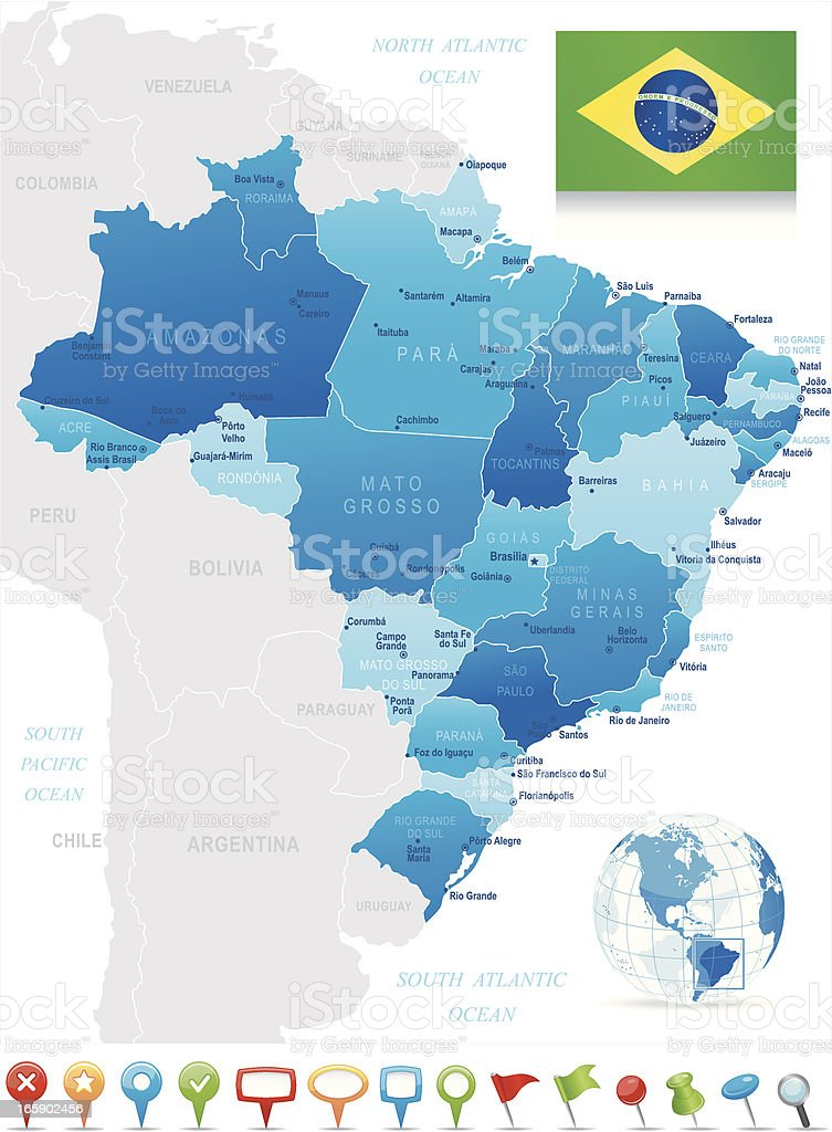 Map of Brazil - states, cities, flag and navigation icons royalty-free map of brazil states cities flag and navigation icons stock vector art & more images of arrow symbol