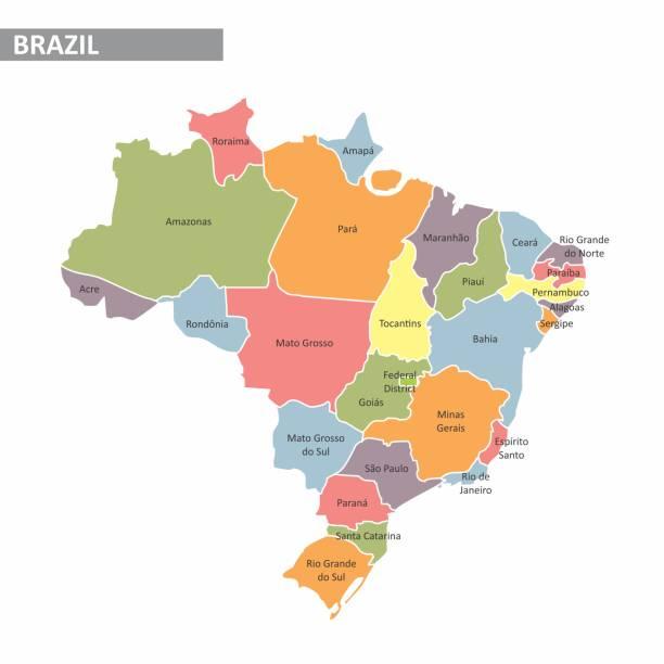 ilustrações, clipart, desenhos animados e ícones de mapa do brasil - brazil