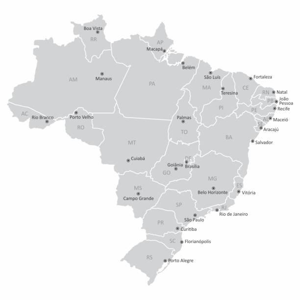 ilustrações, clipart, desenhos animados e ícones de mapa do brasil - manaus