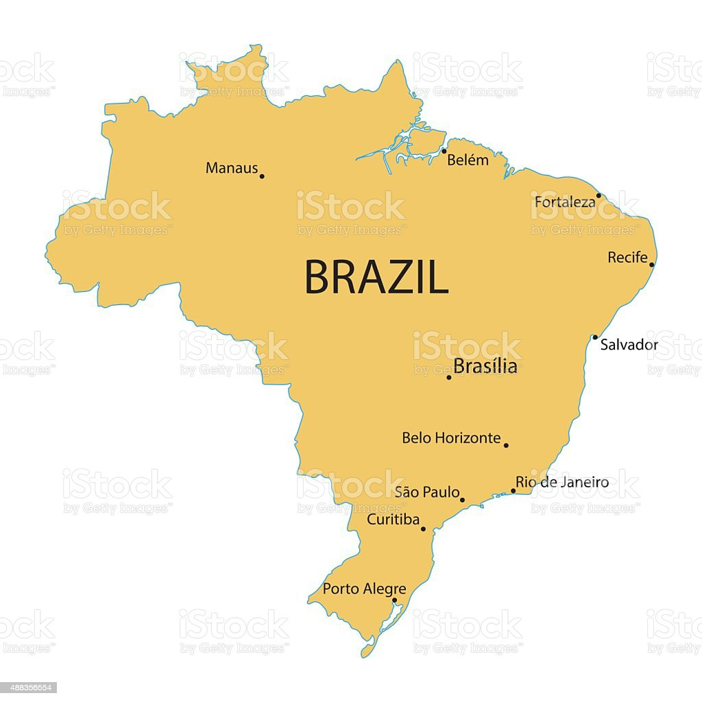 Map Of Brazil Stock Vector Art & More Images of 2015 488356554 | iStock