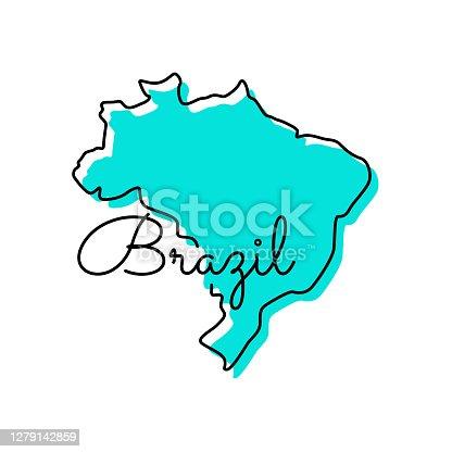 istock Map of Brazil Vector Illustration Design Template. 1279142859