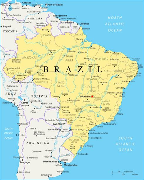 ilustrações, clipart, desenhos animados e ícones de mapa do brasil - vetor - brazil map