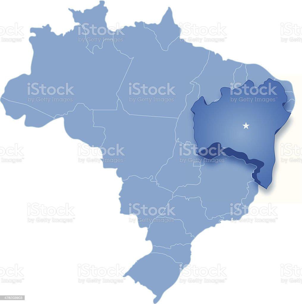 Mapa da Bahia, Brasil, onde está aberta - ilustração de arte em vetor