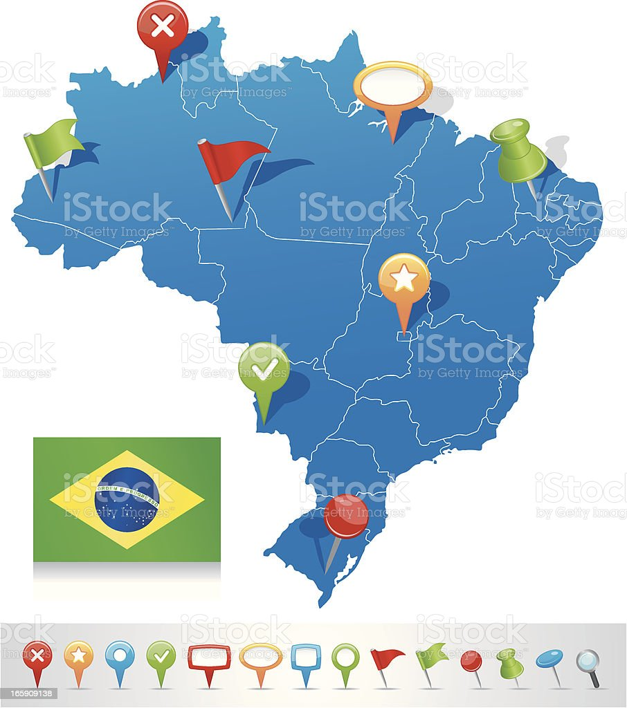 Map of Brazil with navigation icons vector art illustration