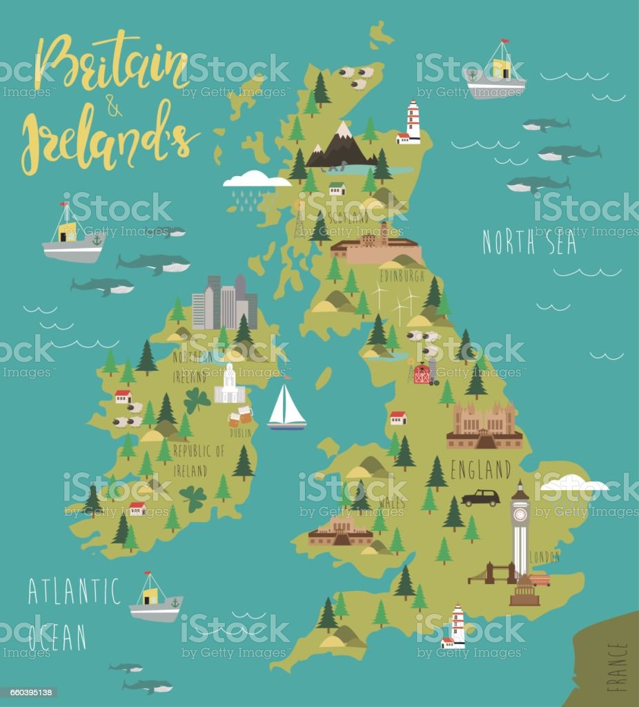 Map of Britain and Ireland's vector art illustration