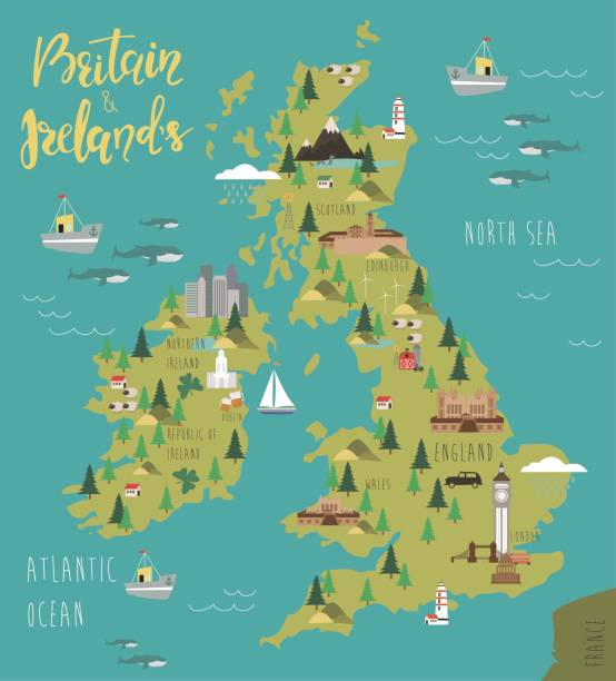map of britain and ireland's - wales stock illustrations, clip art, cartoons, & icons