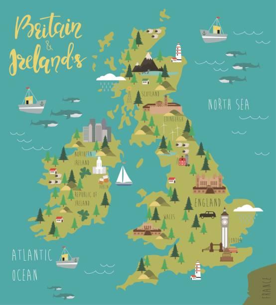 ilustraciones, imágenes clip art, dibujos animados e iconos de stock de mapa de gran bretaña y de irlanda - viaje a reino unido