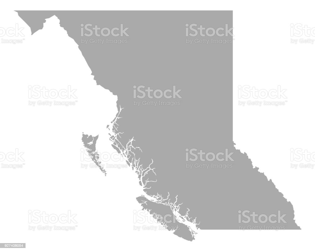 Map of British Columbia vector art illustration