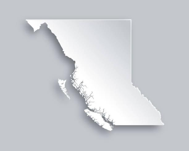 Map of British Columbia vector art illustration