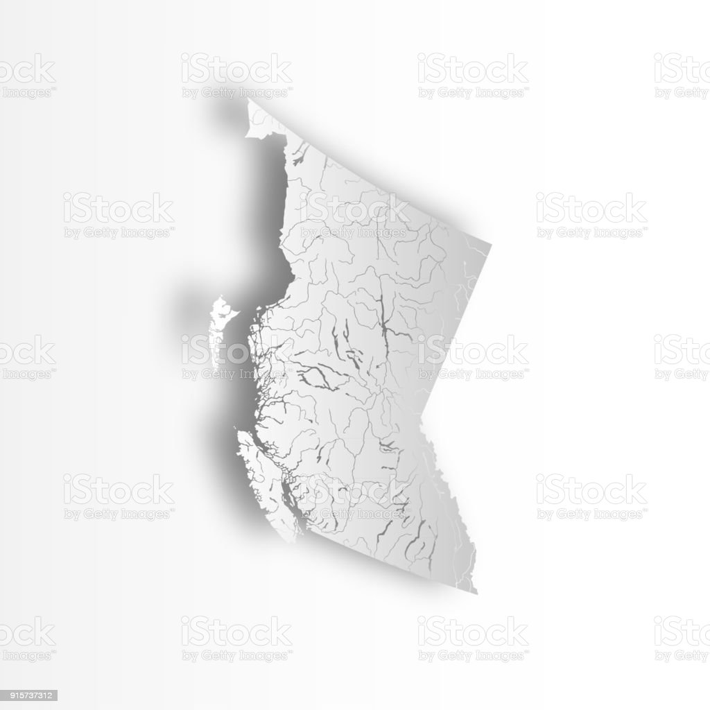 Map of British Columbia with rivers and lakes. vector art illustration