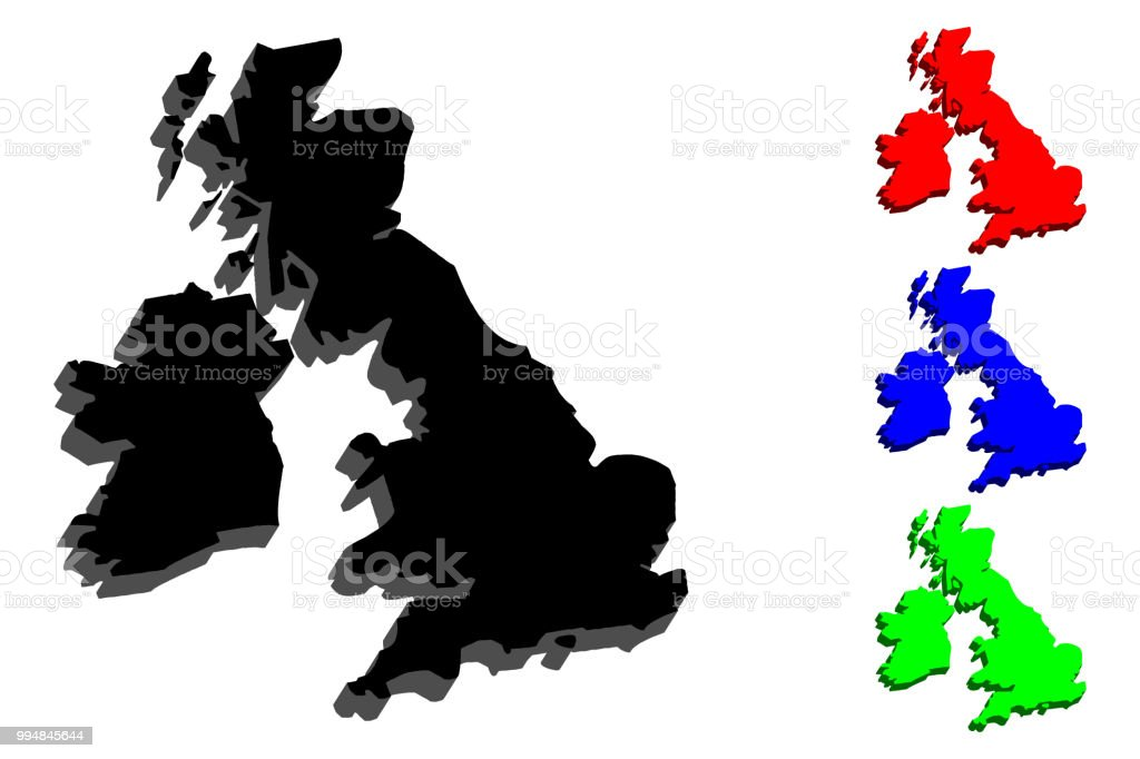 3D map of British Isles vector art illustration
