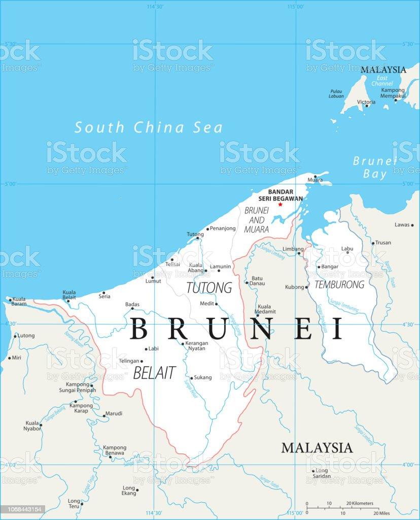 Karte Von Brunei Vektor Stock Vektor Art Und Mehr Bilder Von Bandar Seri Begawan Istock