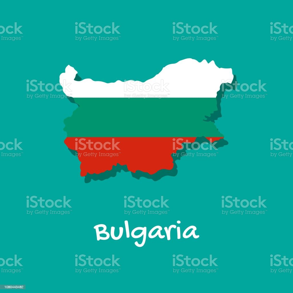 Map of Bulgaria painted in the colors of the flag. vector art illustration