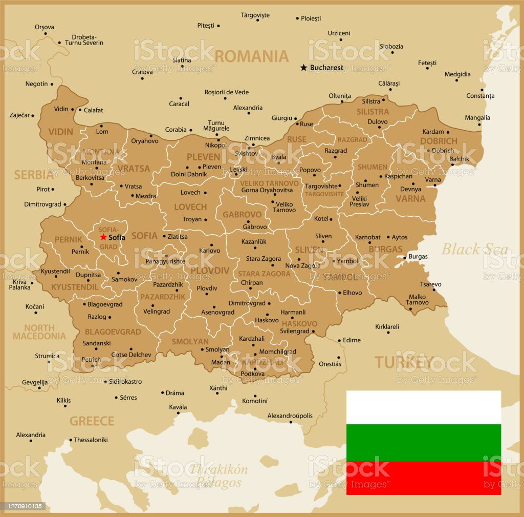Picture of: Map Of Bulgaria Political Map With Regions National Flag Geographical Borders Of Turkey Greece Romania And Serbia Stock Illustration Download Image Now Istock