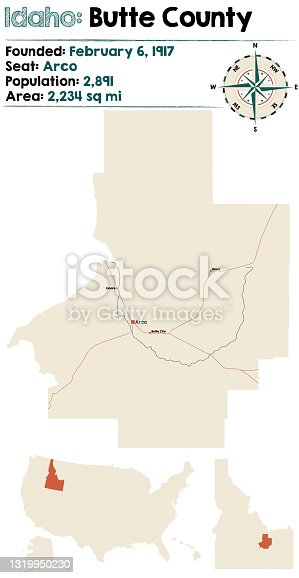 istock Map of Butte County in Idaho 1319950230
