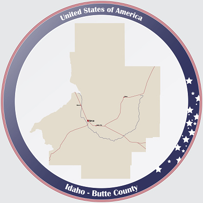 Map of Butte County in Idaho