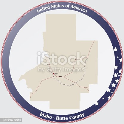 istock Map of Butte County in Idaho 1322673884