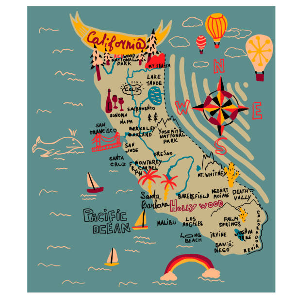 Map of california simple illustration on white background Map of california simple illustration on white background. City life and travel series. california map stock illustrations