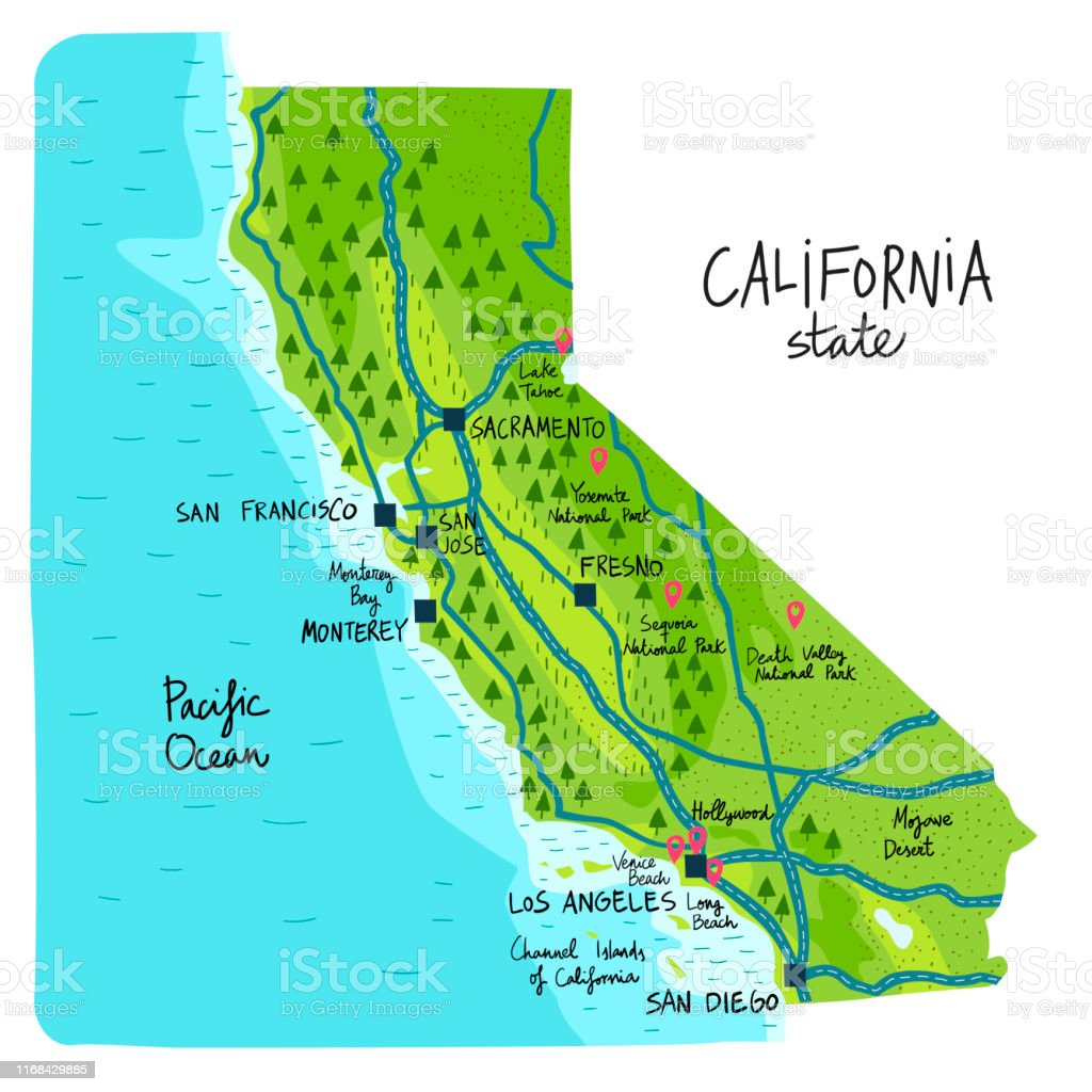 Map Of California State Of The Usa With Landmarks Stock ...