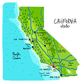 Map of California state of the USA, with landmarks. Colorful hand drawn illustration