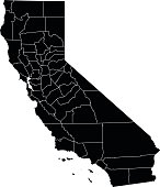 Detailed silhouette map of California State.