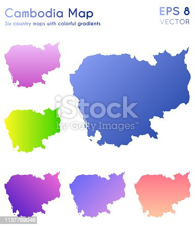 istock Map of Cambodia with beautiful gradients. 1137769046