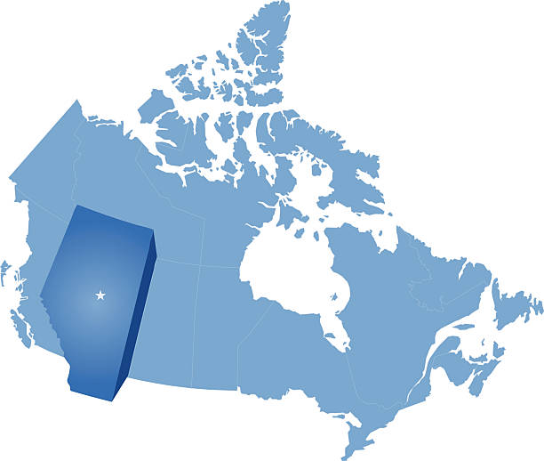 Map of Canada - Alberta province vector art illustration