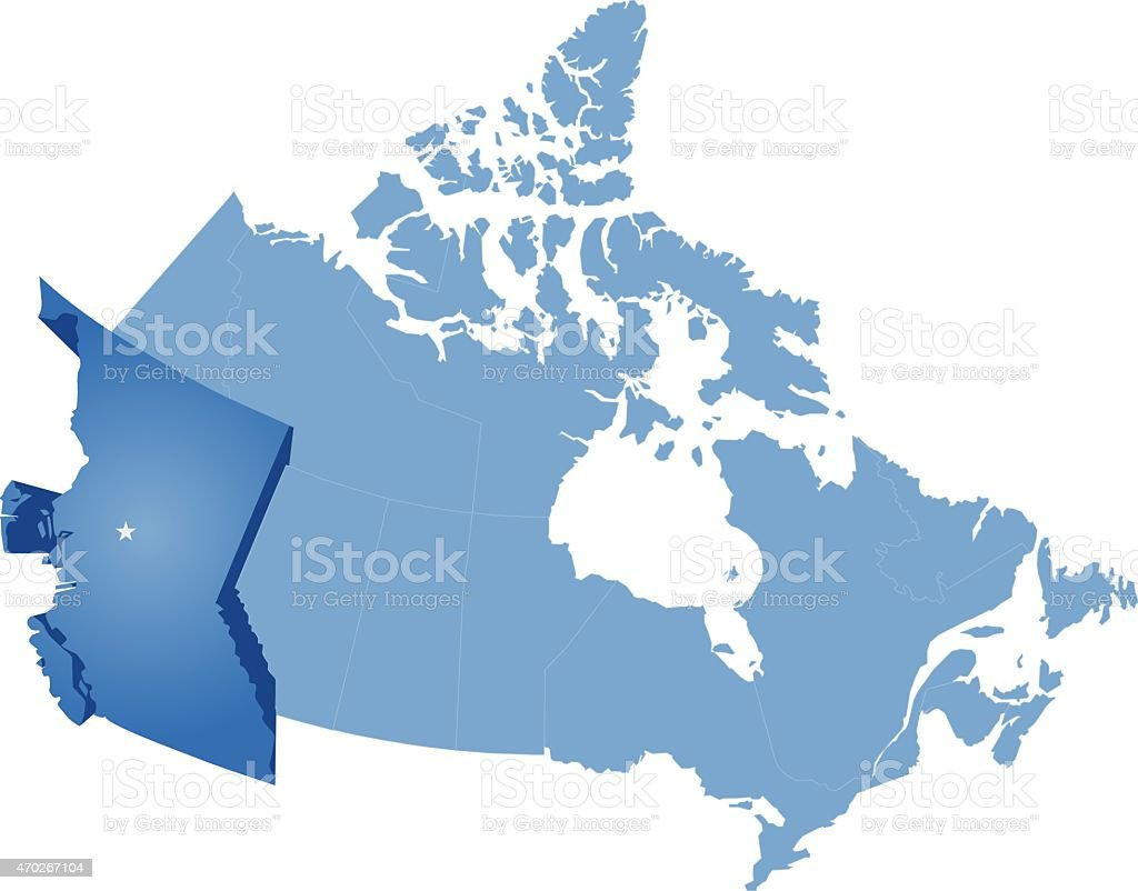 Map of Canada - British Columbia province vector art illustration