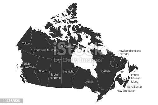 Map of Canada divided into 10 provinces and 3 territories. Administrative regions of Canada. Grey map with labels. Vector illustration.