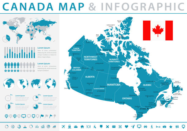 Map of Canada - Infographic Vector Map of Canada - Infographic Vector illustration mississauga stock illustrations