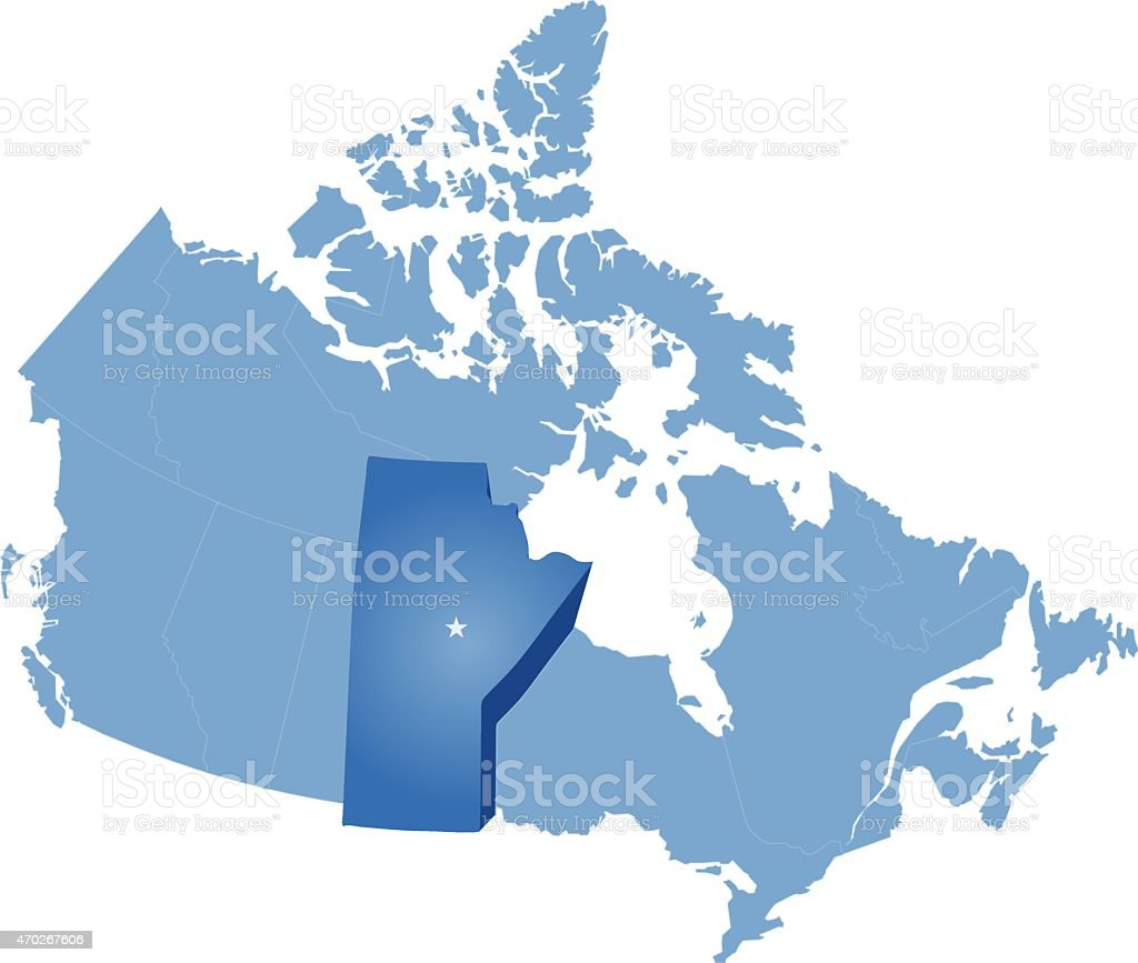 Map of Canada - Manitoba province vector art illustration