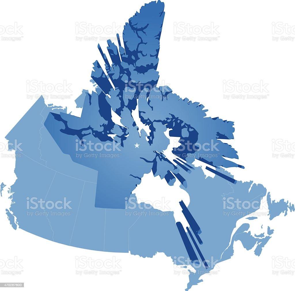 Map of Canada - Nunavut Territory vector art illustration