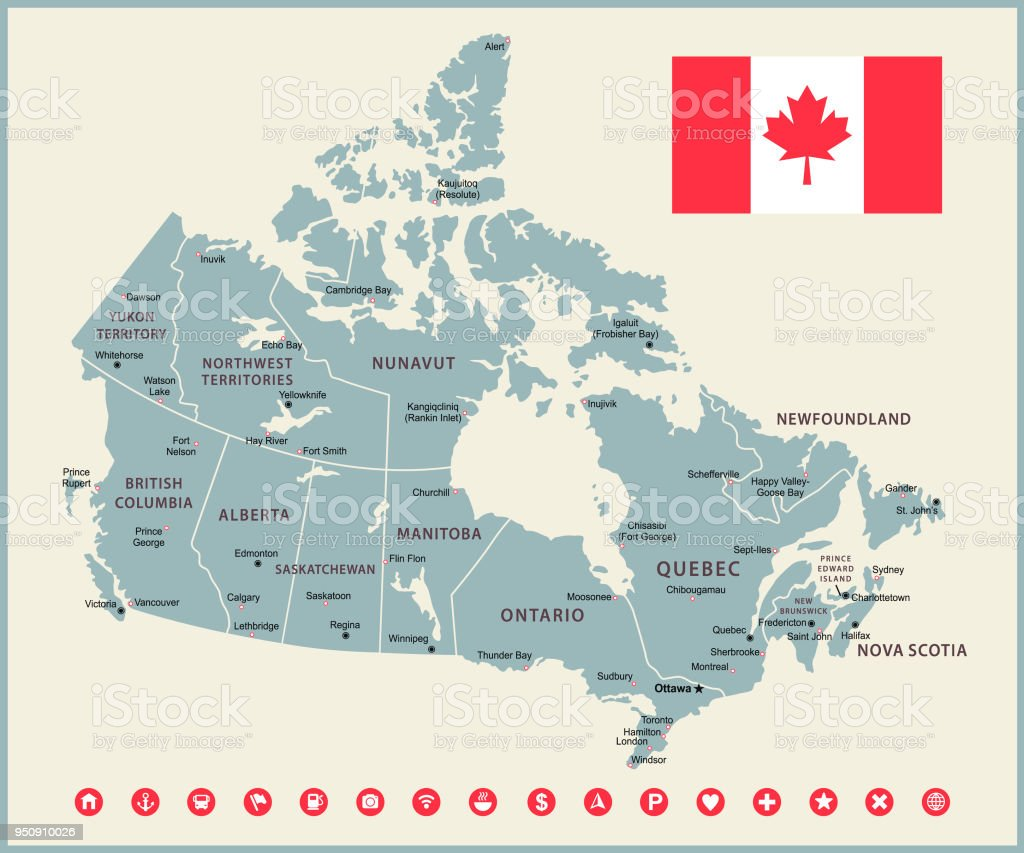Map Of Canada Retro Vector Illustration With Navigational Icons