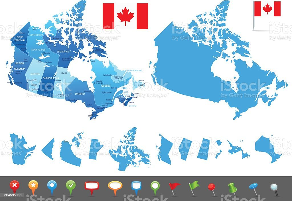 Map of Canada - states, cities and navigation icons vector art illustration